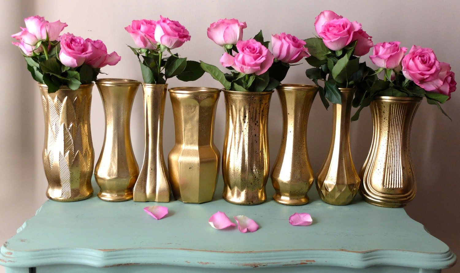 Metallic yellow gold distressed floral vases mixed set wedding zoom reviewsmspy