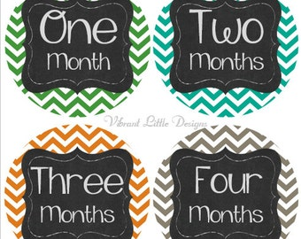Baby Boy Monthly Stickers, Milestone Stickers, Month Stickers, Baby Month Stickers, Baby Stickers, Chevron #114