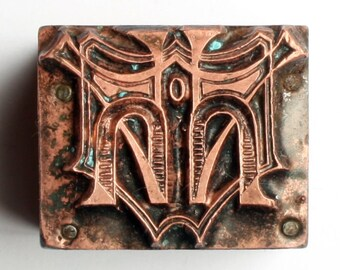 ABSTRACT and UNUSUAL 1903-1953 Antique GERMAN Copper Letterpress Cut printing block Pattern