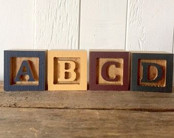 Mini Wooden Letter Blocks, Mini Alphabet Block, Small ABC Block, Birthday Gift, Baby Shower Gift, Farmhouse Home Decor