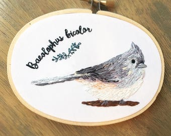 Tufted titmouse bird embroidery