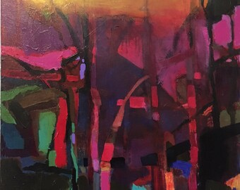Abstract Wall Art/Painting of Trees, Landscape