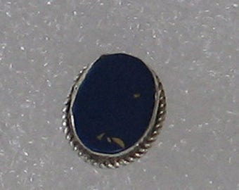 11mm Single Oval Lapis Inlay  Sterling  Post Earring