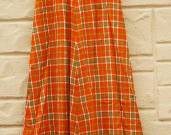 Vintage 60s-70s Orange Plaid Maxi Skirt /Hippie/ Bohemian Chic/Retro/Mod/Mid Century