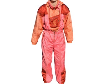 Vintage LUHTA snowsuits snow ski pink made in Finland iridescent hooded with belt USA 12