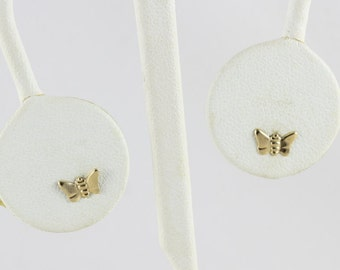 14k Yellow Gold Butterfly Stud Post Earrings