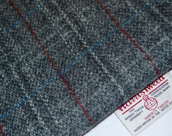 HARRIS TWEED FABRIC 100% pure virgin wool & authenticity labels Grey Red Line Tartan Various Sizes