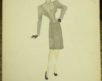 1940's Vintage Women Gray Dress Sketch