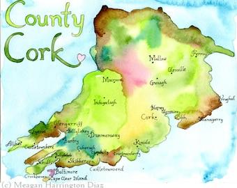 County Cork Ireland - LARGE 13x19 Fine Art Watercolor Print - Ireland Map - watercolor map of Ireland