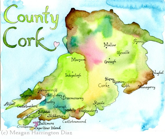 County cork ireland large 13x19 fine art watercolor print gumiabroncs Image collections
