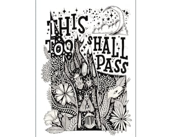 A4 Art Print | This Too Shall Pass | Illustration Hand Lettering