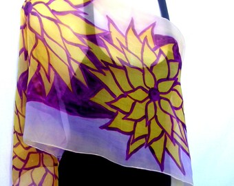 Hand Painted Silk Scarf, Floral, Orchid Pink Lavender Purple Vanilla Yellow, Silk Chiffon Scarf, Gift For Her