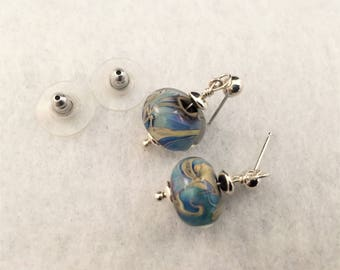 Earrings, post, silver, blue, beige, glass, bead, lampwork, original, handmade, gift, handcrafted, Sassy Shack Designs, jewelry