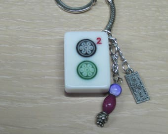 Mahjong key chains with full sized cranberry/white tile