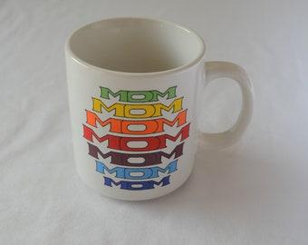 Vintage MOM Rainbow Coffee Mug 1970's Mother's Day Gift