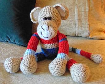 "Crocheted monkey stuffed animal doll toy ""Munk"""