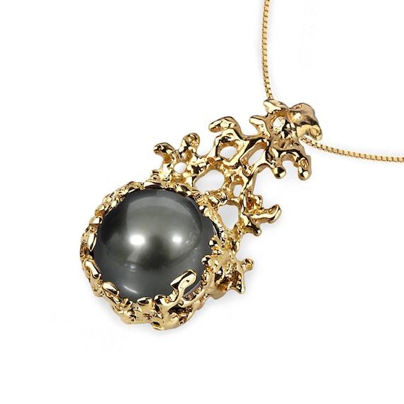 Coral 14k gold black tahitian pearl pendant necklace gold aloadofball Choice Image