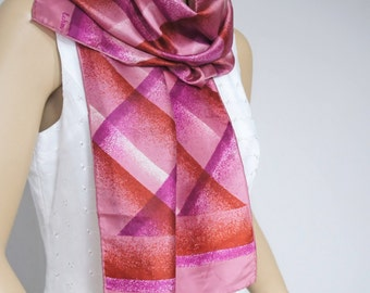 Vintage Scarf Echo Oblong Scarf Hot Pink Purple 1980's Abstract Plaid Fab Oblong
