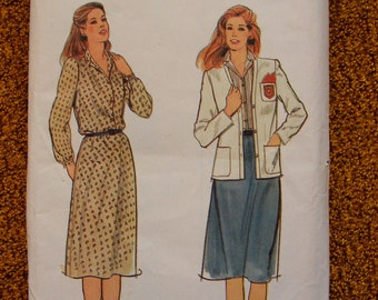 Misses' Vintage Jacket and Dress Uncut Butterick Sewing Pattern 3618 Size 12 14 16