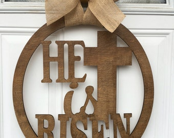 He is risen, easter door hanger, religious door hanger, easter door decor, easter, religious decor