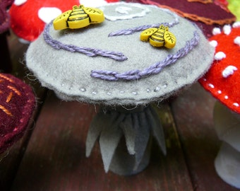 Felt Mushrooms, Waldorf Inspired, Peg Doll Fungi, Nature Table Mushrooms,  Small Handmade Grey Mushroom