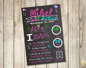 Princess Diva Personalized Birthday Chalkboard Sign Poster! Any age and information! Choose your size! File DOWNLOAD!