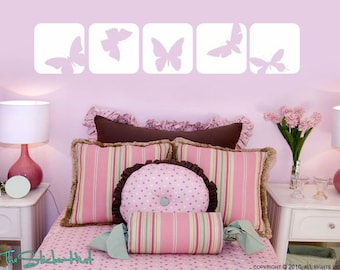 Butterfly Squares - Vinyl Lettering - Baby Nursery Decor - Girl Bedroom Decor - Butterflies - Vinyl Wall Art Graphics Decals Stickers 980