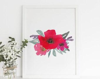 Poppy Print, Poppy Flower Art, Gifts for Her, Nursery Decor, Bohemian Gift Ideas, Wildflower Print, Wild Flower Artwork, Bohemian Decor