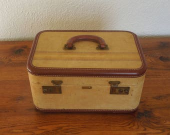 Vintage Tweed Striped Train Case Suitcase Leather Handle and Trim