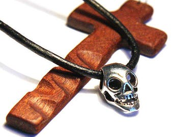 Fathers Mothers Day Gift for Man Necklace Silver Skull Pendant Skull Necklace Long Head Open Eyes & Jaw Teeth Black Leather Gift for men