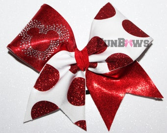 Big Glitter Polka Dot and Rhinestone Mickey Cheer Bow by FunBows !