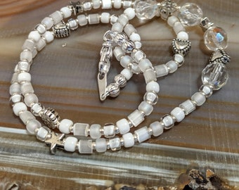 "CUSTOM ORDER for Etsian Cheryl Hegman white crystal and seed bead 16"" beaded necklace"