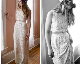 Boho Wedding Dress, Bohemian Wedding Dress, cropped Top wedding dress, lace wedding dress, boho lace wedding dress, two piece wedding dress,