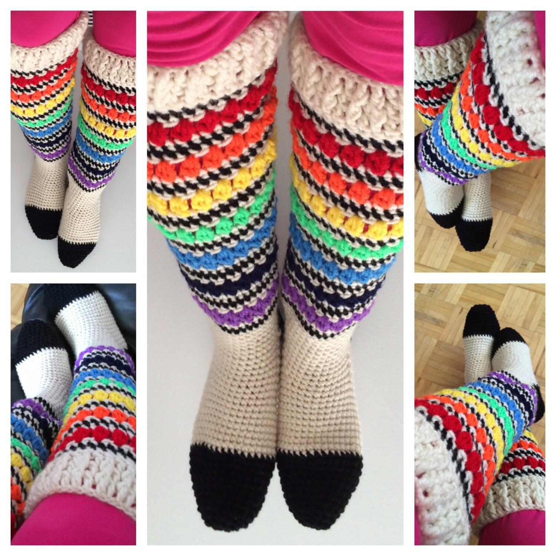 PATTERN: Crochet Knee High Socks Pattern PDF, Crochet Pride Rainbow ...