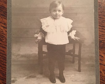Antique Cabinet Card of Little Boy Illinois c. 1900