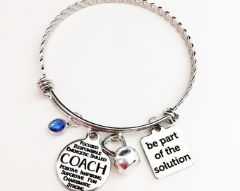 Beachbody Coach Fitness Coach Personal Trainer Bangle Bracelet Charm Bracelet Coach Gift Emerald Coach Diamond Coach
