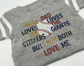 House Divided, shirt, mom loves steelers, dad loves giants, house divided, football shirt. Laser transfer, sports, varsity,