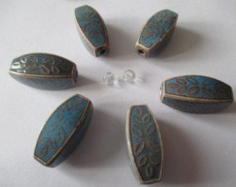 Vintage Blue Ceramic Beads