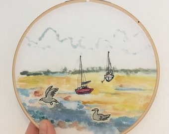 wells by the sea, wells by the sea art, seaside art, seaside, watercolour painting, embroidery art,