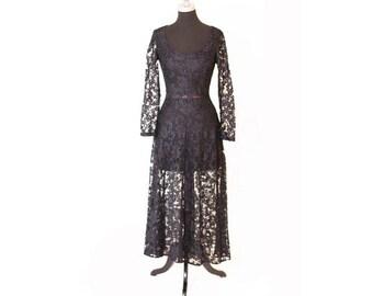 Vintage Vtg. 1980s 80s Paris Blue Black Lace Long Sleeve dress size 3