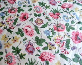 Vintage Chintz Fabric - Cottage Chic Vine Roses and Flowers - 38 x 40