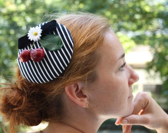 Fascination black and white striped with cherries velvet bow