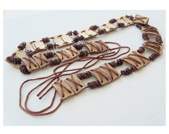 Ethnic Tie Belt Brown Wood Effect Beads Jungle Safari Hippy African Style Boho 41 Inch Waist or Hip Low Slung Hipster