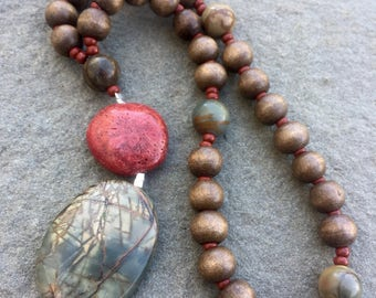 Anglican Rosary/ Protestant Rosary- Picasso Jasper, red coral and wooden prayer beads
