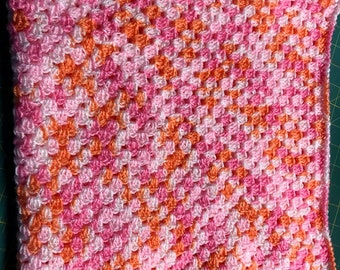 Baby Pink and Orange Baby Blanket, Crib Blanket, Lap Robe
