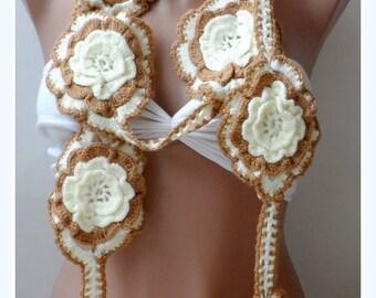 Big Flower lariat scarf, Crochet flower scarf, Cream Camel Crochet scarf, Cream Handmade, Lariats, Floral, Crochet scarf, Christmas scarfs