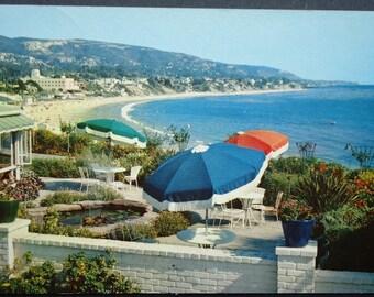 Laguna Beach, California, Victor Hugo Inn, Vintage Postcard, Umbrellas