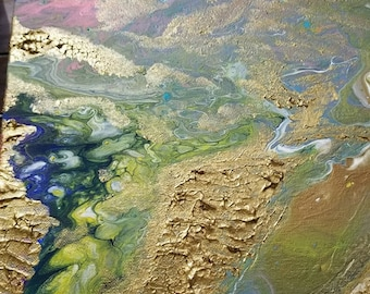 """Mixed Media Abstract Painting """"The Gold Mountain"""""""