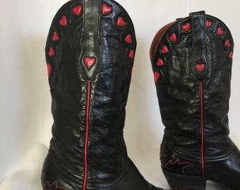Vintage 'Old Gringo' Black Leather Red Heart Cowboy Boot | Cuban Heel | Genuine Leather | Cowgirl | Western Boot