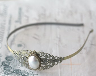 Pearl headband brass filigree bridal vintage style romantic wedding hair accessory